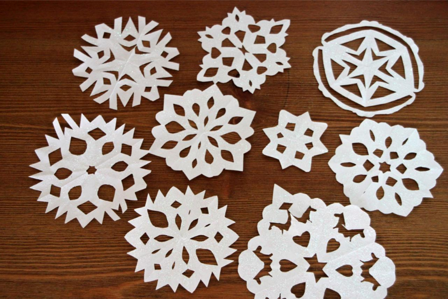 Making paper snowflakes while you're high